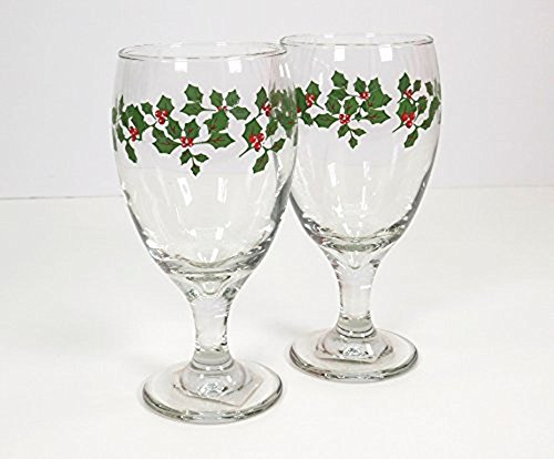 Holly Goblets - (Set of 4) 16 oz Sturdy Water/Ice-Tea or Wine Goblets Glasses Adorned with Festive Holly Berry Leaves. Multi Purpose Goblets Glass for the Holiday Seasons