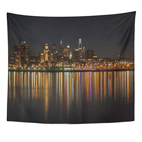 Semtomn Tapestry Artwork Wall Hanging Philadelphia Philly Night Pennsylvania Skyline Skylines Cityscape Cityscapes Waterfront 50x60 Inches Tapestries Mattress Tablecloth Curtain Home Decor Print