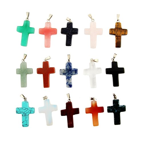 Assorted Cross Shape Healing Chakra Beads Crystal Rock Stone Quartz Pendants for Necklace Jewelry Making(30pcs) (Gold Multi Colored Crystal)