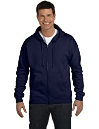 Men's Full-Zip EcoSmart Fleece Hoodie (Medium, 1 Navy + Deep Red)