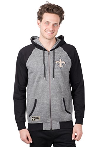 Icer Brands NFL New Orleans Saints Men's Full Zip Fleece Hoodie Sweatshirt Raglan Jacket, Large, Gray