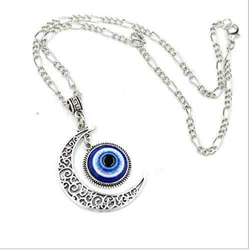Crescent Moon Pendant Blue Evil Eyes Glass Eye Art Picture Triple Goddess Pendant Necklace Blue Moon Art Glass Pendant