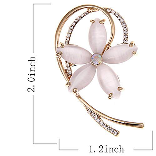 Flower Brooch Pin Style Delicate Created Cat Eye Stone Rose Gold Plated Cocktail Gift