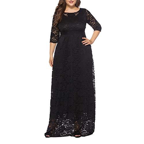 (Vintage Party Dress, Women's Retro Floral Lace Oversize Wedding Maxi Bridesmaid Long Dress (3XL, Black))