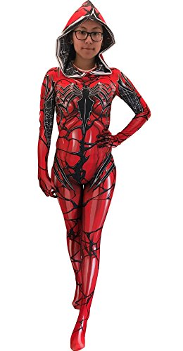 CosplayLife Red Gwenom Cosplay Costume | Carnage Gwenom | Gwen Stacy Suit Bodysuit Morphsuit Zentai Suit (XL)