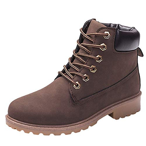 COPPEN Women Boots Retro Solid Ankle Thick Lace-up Short Round Toe Casual Shoes