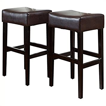 Noble House Trent Home 30 Rodriguez Backless Bar Stools in Brown Set of 2