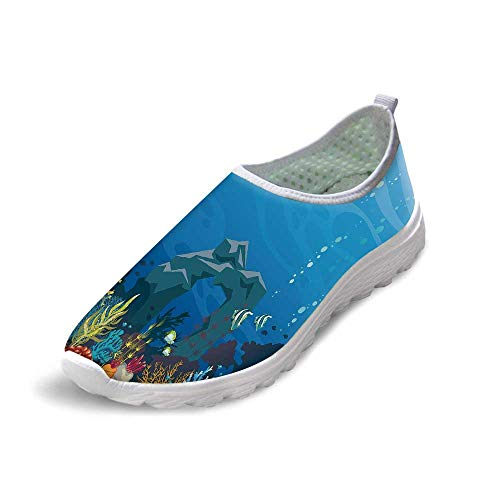 Aquarium Comfortable Running ShoesColorful Coral Reef with Fishes and Stone Arch Under The Sea Natural Seascape Decorative for Men Boys,US - Natural Reef Micro Aquarium