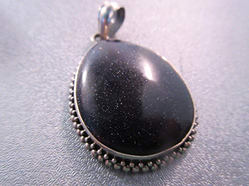 Vintage Sterling Silver Blue Goldstone Pendant 1pc #ID-582