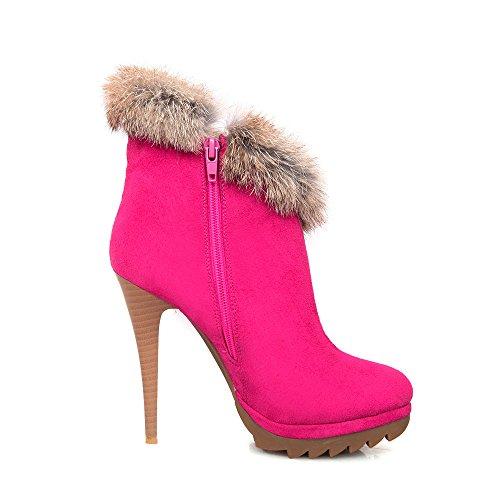 Meotina Femmes Cheville Bottes Plate-forme Talons Chaussures Réel Lapin Fourrure Talon Mince Bottes Rouge