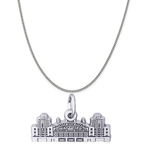 Rembrandt Charms 14K White Gold Navy Pier Charm on a 14K White Gold Curb Chain Necklace, 18