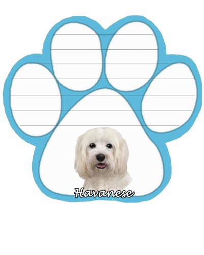 Havanese Notepad With Unique Die Cut Paw Shaped Sticky Notes 50 Sheets Measuring 5 by 4.7 Inches Convenient Functional Everyday Item Great Gift For Havanese Lovers and Owners