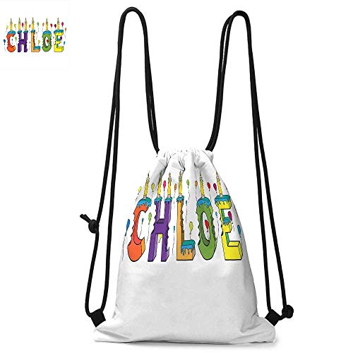 Chloe Durable Drawstring Backpack Lettering with Cheerful Bitten Cake Candles Girly Birthday Party Design First NameSuitable for carrying around W13.8 x L17.7 Inch Multicolor
