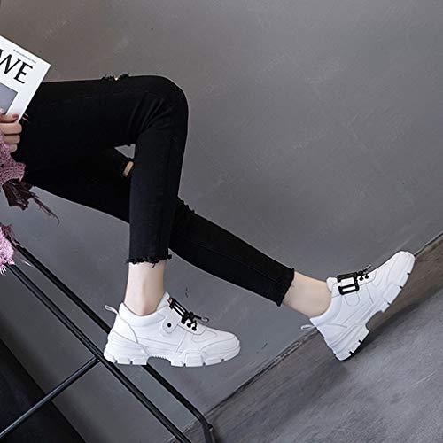 Barco Lona Yan Para Caminar Zapatos Holgazanes Deslizarse Ocasionales Los Blanco En De conducción Cubierta diarios Mujer Ocasionales Bombas PqUrEcPw