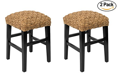 BirdRock Home Checkered Weave Seagrass Backless Counterstool | Set of 2 | Hand-Woven | Dark Brown Mahogany Wood Legs | Kitchen Bar Height | Fully Assembled (Seagrass Counter Stools)