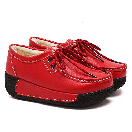 foderate Rosso in in lacci pelle donna da EU Rosso con pelliccia Fuxitoggo Dimensione 40 Scarpe Scarpe Colore 40Aax5