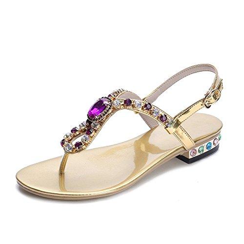 Sandals heels Buckle Split Low Solid Womens Gold Toe AmoonyFashion Blend Materials w8fBzfnqI