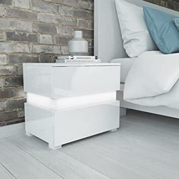 the best attitude c6bc8 3c813 Sense White High Gloss Bedside Table with LED Light: Amazon ...