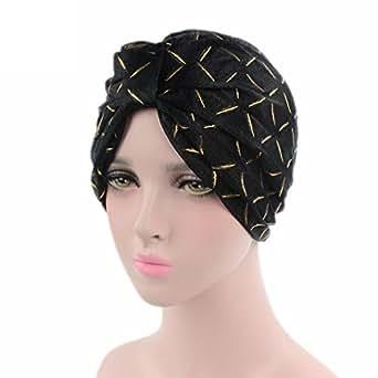 GOODCULLER Women Silk Yarn Cancer Chemo Hat Beanie Scarf Turban Head Wrap Cap (Black)