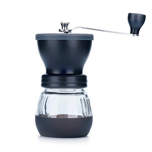Manual Coffee Grinder with Conical Ceramic Burr - Because Hand Ground Coffee Beans Taste Best, Infinitely Adjustable Grind, Glass Jar, Stainless Steel Built To Last, Quiet and Portable by WELLMON (Image #1)