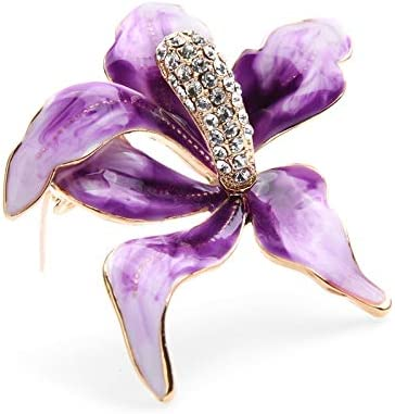 XZFCBH Broches Grandes de Flores de orquídeas de Esmalte púrpura Mujeres Aleación Rhinestone Bodas de Flores Broche Alfileres Regalos
