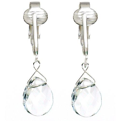 Elegant Glass Briolette Clip On Earrings for Women, Romantic French Dangle, Pierced Look w Clip (Clear Crystal)