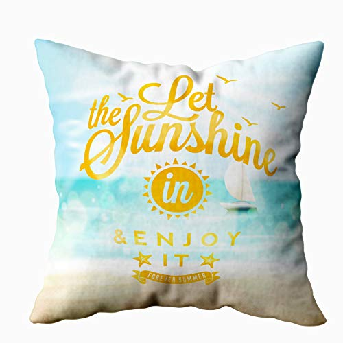 Anucky 18x18 Pillow Cover,Halloween Pillow Covers, Let The Sunshine in Summer Beach Poster for Your Home Printed with Fashion Pattern Soft Case for Bedroom Decorative Pillow Covers -