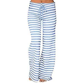 Amazon.com: Pantalones de mujer a rayas, cintura alta ...
