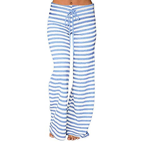 Clearance Sale! Women Pants Women Striped High Waist Elastic Loose Wide Leg Trousers Dancing Yoga Pants