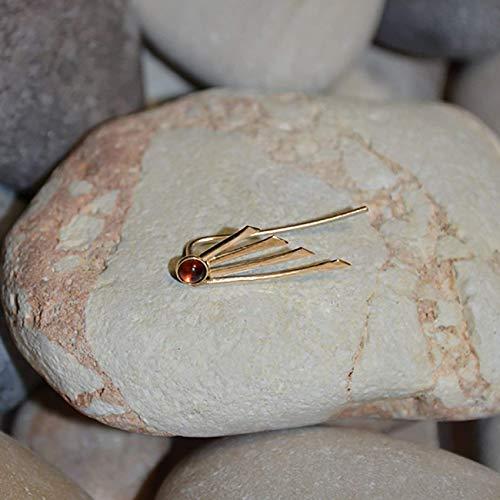 Gold EAR CLIMBER EARRING // 3mm Garnet Ear Cuff - Ear Pins - Minimalist Jewelry - Ear Sweep - Earcuff Earrings ()