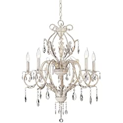 Kathy Ireland Devon 5-Light Antique White Crystal Chandelier