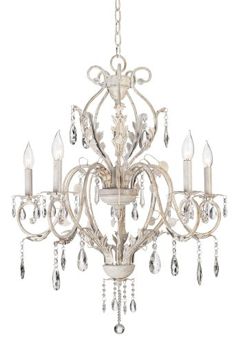 Kathy Ireland Devon 5 Light Antique White Crystal Chandelier   Shabby Chic  Chandelier   Amazon.com