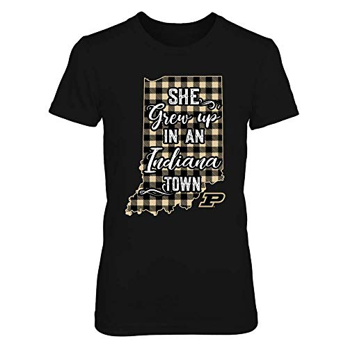 FanPrint Purdue Boilermakers T-Shirt - She Grew Up in an Indiana Town - Checkered Pattern - Women's Tee/Black / 2XL