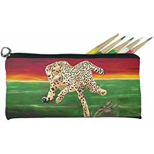Cheetah Small Pencil Bag, Eye Glasses Case - From My Original Painting, Twilight Run - Support Wildlife Conservation - Read How