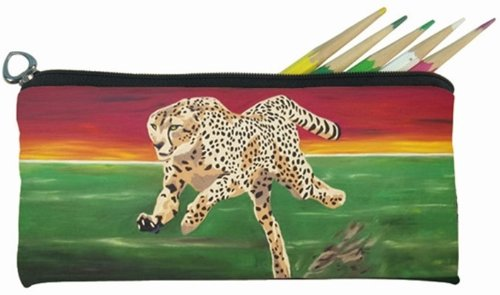 - Cheetah Small Pencil Bag, Eye Glasses Case - From My Original Painting, Twilight Run - Support Wildlife Conservation - Read How