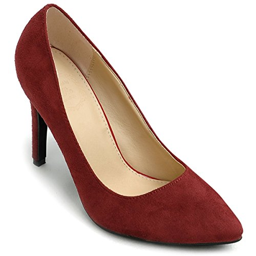 High Suede Burgundy Women's Ollio Color Heel Pump Shoe Point Multi Faux Toe EH4qY