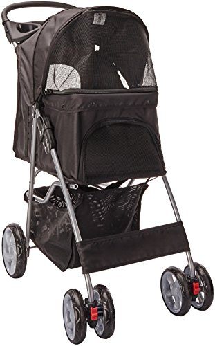 Paws & Pals Pet Stroller Cat Dog Easy Walk Folding Travel Carrier Carriage - Onyx Black