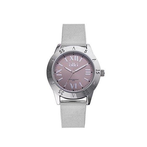 ikki Reloj analógico para mujer Quartz rejilla Plata RD de 01