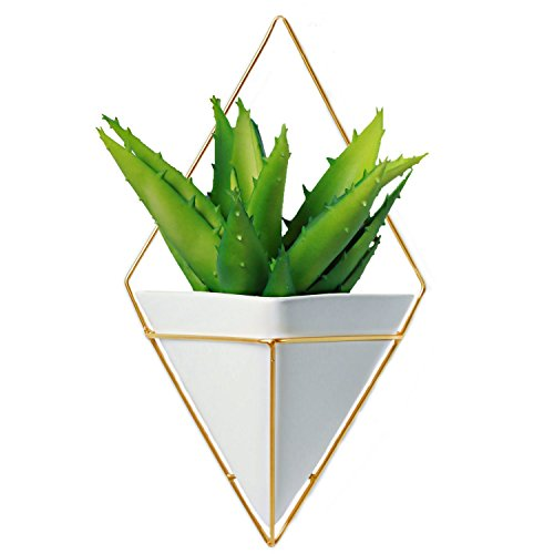 Large Decorative Geometric Hanging Planter Pot for Indoor Wall Decor, Planter For Succulent Plants, Air Plant, Cacti, Faux / Artificial Plants, White Ceramic / Brass, by California Home (White Artificial Pot)