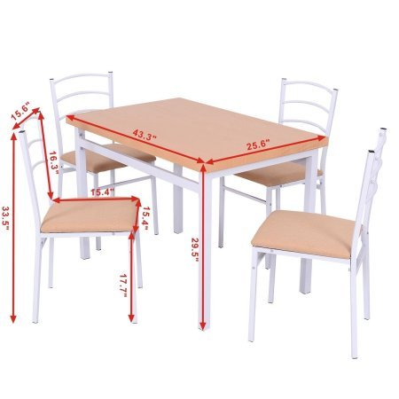Dining Set with 5 Pieces, Table and 4 Chair, High Back Padded Seat Chairs, Durable Construction, Practical, Ideal for Everyday Meals, Desserts, Kitchen, Restaurant, Practical Furniture by ProGiga Select
