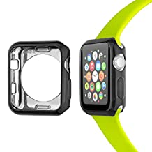 Apple Watch Case 42mm, FashionAids Eletroplated TPU Scratch-resistant Flexible Bumper Case Slim Lightweight Protector for Apple Watch Series 2/3, 42mm Black