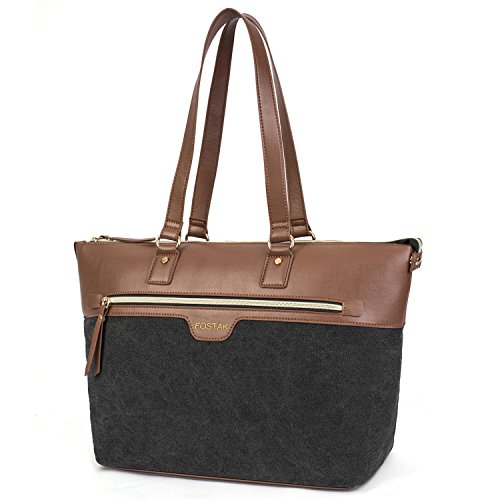 (Ladies Laptop Tote Bag 15.6 Inch,Canvas Leather Stylish Multi-Pocket Travel Business Casual Shopping Shoulder Bag Carrying Briefcase Handbag for Women 13 14 15