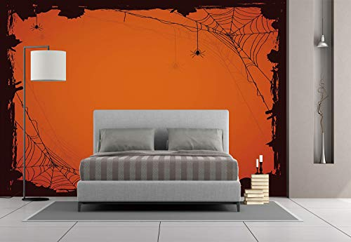 Large Wall Mural Sticker [ Spider Web,Grunge Halloween Composition Scary Framework with Insects Abstract Cobweb,Orange Brown ] Self-adhesive Vinyl Wallpaper / Removable Modern Decorating Wall Art for $<!--$238.99-->
