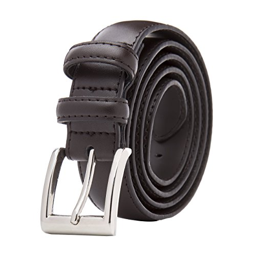 Men's Classic Stitched Leather Belt - Brown Belt With Silver Buckle (38) Single - Belt Classic Silver