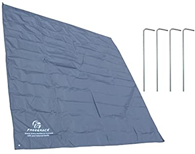 Freegrace® #1 Best Multifunctional Tarp with Four Stakes - Top Premium Lightweight Tarp Waterproof GUARANTEED - Tarp Dimension 6.56x6.56Feet/2x2Meters - 100% Protect Your Pants From Wet - Can be used as Beach Blanket, Picnic Blanket, Camping Cover, Outdo
