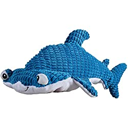 SmartPetLove Tender-Tuffs Big Shots - Tough Plush Dog Toys for Large Breeds - Hammerhead Shark