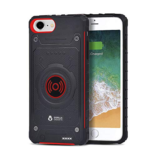 Gorilla Gadgets 3200 mAh Qi Wireless Charging Battery Case Compatible with iPhone 6/6s/7/8 (4.7 in), Portable Rechargeable Extended Battery Protective Case with Lightning Port