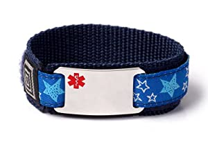 Customized Sport Medical Alert ID Bracelet for Kids with adjustable wristband.