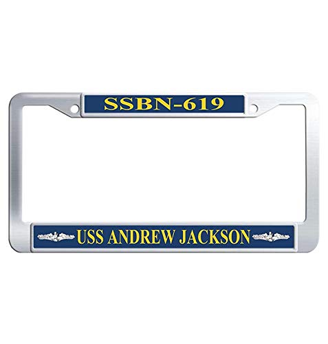 Hensteelna USS Andrew Jackson SSBN-619 Auto License Plate Frame U.S. Navy Naval Vessel Stainless Steel License Frame car(1 pic, 6' x 12' in)
