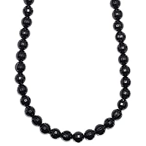 Shamballa Necklace Faux Onyx Black Ball Beads - 26 Inches